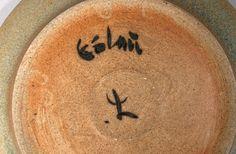 Jens quistgaard dish large blue eslau studio pottery danish scandinavian beige