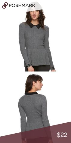 """🆕 ELLE Size XL Gray Peplum Sweater New with Tag! Size XL by ELLE 💕 Bust measures 18"""" across from armpit to armpit and Length is 28"""". Material is very stretchy. ELLE Sweaters"""