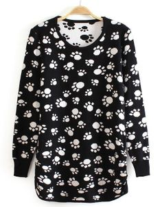 Black Long Sleeve White Feet Print T-Shirt US$24.43