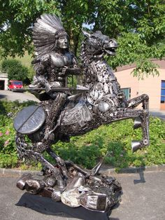 Native American and horse metal sculpture from found objects