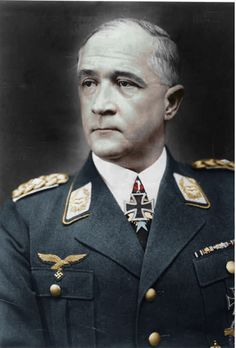 Robert Ritter von Greim (1892 – 1945) was a German Field Marshal, pilot, army officer, and the last commander of the Luftwaffe during WW2. On 4/26/45, von Greim flew into Berlin and presented himself to Hitler. He was promoted field marshal and given command of the (non-existent) Luftwaffe after Hitler had dismissed Goering as a traitor. After the end of the war, von Greim was arrested and, fearing that the US would surrender him to the Russians, he committed suicide on 5/24/1945.