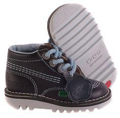 Boys KICKERS Kick It Black Leather Boots