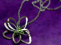 Handcrafted peridot flower necklace by jihidesigns on Etsy, $75.00