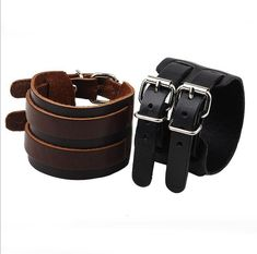 New Punk Wide Leather Bracelet Bracelets For Women Double Buckle Charm Bracelet Men Bracelets & Bangles Fashion Jewelry Braclet