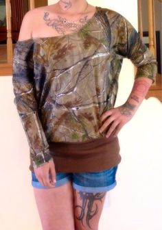 Off the shoulder camo shirt/tunic by BackwoodsBarbieAcc on Etsy, $45.00