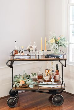 Bar cart styling goals | Photo by Radian Photography