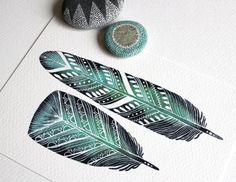Émeraude de plumes aquarelle 8 x 10 Archiv... par RiverLuna, $20.00