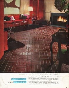 "1965 KENTILE FLOORS vintage magazine advertisement ""beautiful brick floor"" ~ Love the idea of a beautiful brick floor? ... Floor design and interior by Marvin Culbreth ~ Size: The dimensions of the full-page advertisement are approximately 10.5 inches x 13.5 inches (26.75 cm x 34.25 cm). Condition: This original vintage full-page advertisement is in Excellent Condition unless otherwise noted (watermarks bottom corners)."