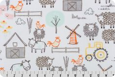 1 Yd Minky E-I-E-I-O Cuddle® Seaspray Shannon Fabrics