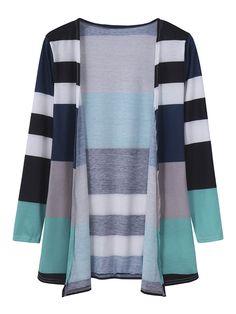 Women Casual Multicolor Stripe Long Sleeve Cotton Cardigan