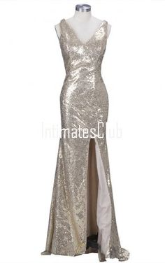 Sexy V-Neck Trumpet / Mermaid Floor-Length Sleeveless Sequined Backless Long Prom Dresses