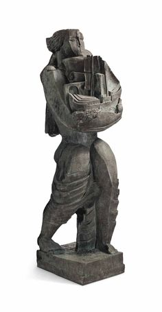 Ossip Zadkine (1890-1967) Le porteur de présents ou Le Messager ou Le Navigateur signed, dated and numbered 'O. ZADKINE 1937 3/8' (on the left side of the base); stamped and inscribed with foundry mark 'SUSSE FRERES PARIS' (on the back of the base) bronze with dark gray and green patina Height: 130½ in. (331.5 cm.) Conceived in 1937; this bronze version cast in 1992  Literature  S. Lecombre, Ossip Zadkine, L'oeuvre sculpté, Paris, 1994, p. 331, no. 296b (carved wood version illustrated).