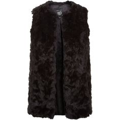 New Look Teens Black Faux Fur Gilet ($28) ❤ liked on Polyvore featuring outerwear, vests, black, vest waistcoat, gilet vest, sleeveless vest, faux fur vest and faux fur gilet