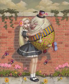 Alice in Wonderland hugging Humpty Dumpty art