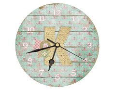 Shabby Chic Monogram Clock. 11 Inch Clock. Custom by DickeryDock