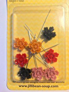 Sugar Picks   Resin Flower Pins   by CynthiasCraftingNook on Etsy