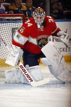 SUNRISE, FL - MARCH 15: Goaltender James Reimer #34 of the Florida Panthers warms up against the Boston Bruins at the BB&T Center on March 15, 2018 in Sunrise, Florida. (Photo by Eliot J. Schechter/NHLI via Getty Images)