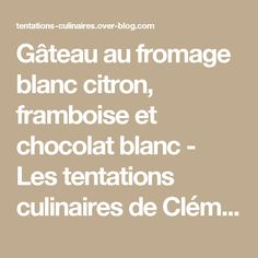 Gâteau au fromage blanc citron, framboise et chocolat blanc - Les tentations culinaires de Clémence