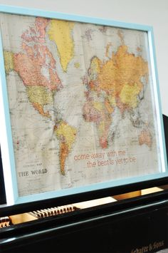 Diy framed world map on corkboard corkboard crafts diy frame and personalized world map diy project frame world map and sew little marks in all the gumiabroncs Image collections