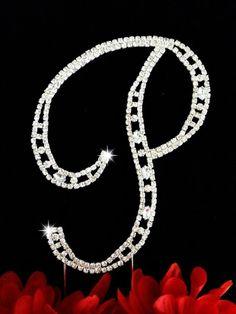 "Silver Sparkling Letter ""P"" Covered In Swarovski Crystals Wedding Cake Topper Name Wallpaper, Flower Phone Wallpaper, Wooden Monogram, Monogram Initials, Wood Letters, Design Letters, Wedding Cake Toppers, Wedding Cakes, Stylish Alphabets"
