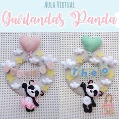 PLANETA DE FETRA | VK Felt Wreath, Felt Garland, Sock Toys, Felt Toys, Felt Crafts Dolls, Bear Felt, Panda Birthday, Felt Banner, Baby Shawer