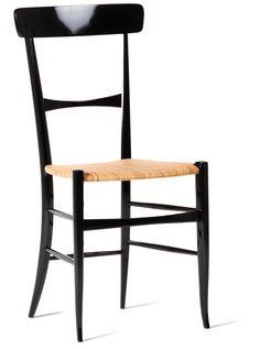 LEGGERISSIMA sedia    misure/measure 87x40x35 cm.    acero/maple    laccato nero lucido/black glossy lacquered    sedile in trafilato di canna/reed weaving seat