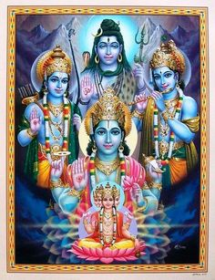 Lord Brahma, Vishnu, Shiva (Holy Trinaty) Rama and Krishna- incarnations of Vishnu Shiva Art, Shiva Shakti, Krishna Art, Hindu Art, Lord Krishna, Om Namah Shivaya, Indian Gods, Indian Art, Krishna Avatar
