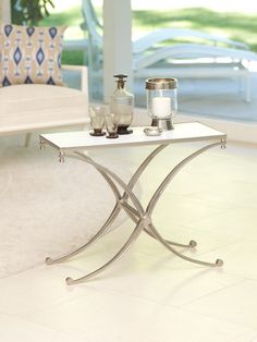 Anatolia Rectangular Aluminum and Marble Side Table #decorate #interiordesign #homedecor #furniture