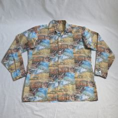 Vintage 1970' Polyester Bucolic Landscape Photo Disco Shirt With Rainbows and Flowers - XL by delilahsdeluxe on Etsy