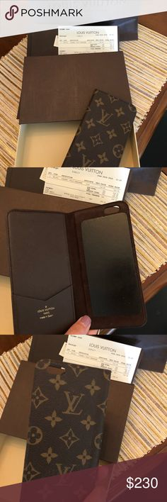 Louis Vuitton IPhone 6+ Folio Monogram Used just a few times before purchasing the iPhone X and it no longer fits my phone. As you can see the leather is in perfect condition and it still has  all the stick it needs! I have the receipt & box all from the purchase. Will gladly send you anything else you want to see or need. Louis Vuitton Accessories Phone Cases