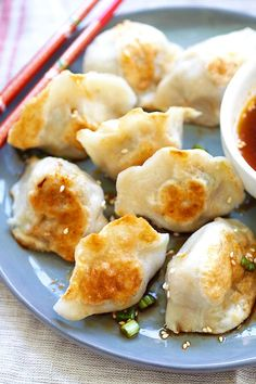 Pan-fried Dumplings - BEST dumplings recipe you'll find online! Juicy, crispy dumplings with meat, veggies and pan-fried to golden perfection | rasamalaysia.com