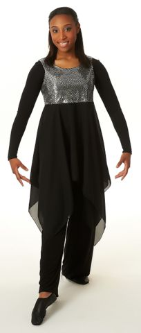 Graceful Overlay – Arise Dancewear Sleeveless overlay dress with lined, sequin bodice and handkerchief skirt. Worn with long sleeve leotard.  Material: Polyester and sequin  Sizes: XS, S, M, L, XL, 2X, 3X $62.00