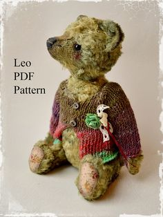 PDF Teddy bear pattern  8.6 inches 22 cm by MoscowBearKA on Etsy