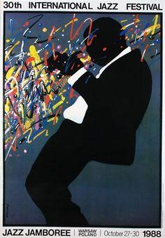 30th International Jazz Festival  Original Polish JAZZ poster designer: Waldemar Swierzy  year: 1988 size: B1