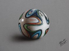 Hyperrealistic drawing of a Brazuca, the official match ball of 2014 FIFA World Cup, mixed media on gray paper by Marcello Barenghi.