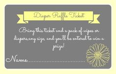 [ Diaper Raffle Ticket game ]