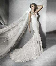 Prunelle | Pronovias | Available at Lulu's Bridal Boutique | Lulu's Bridal | Dallas, Texas | Prunelle | Pronovias | Available at Lulu's Bridal Boutique | Lulu's Bridal | Dallas, Texas | Sweetheart | Illusion Neck | Crepe | Lace | Buttons | Illusion Back | Extended Train |