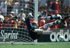 Goalkeeper Thomas Ravelli of Sweden holds off a penalty shot by Miodrag Belodedici of Romania during the World Cup quarter final match between Sweden and Romania on July 10, 1994 in San Francisco, USA.