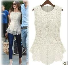 Cheap lace negligee, Buy Quality lace wig adhesive tape directly from China lace bottom Suppliers: New 2014 Desigual Women White Lace Blouse Sexy Plus Size Crochet Lace Tops Women Blusas Renda Sleeveless Shirts Lace Tops, Chiffon Tops, Lace Blouses, Lace Shirts, Dress Shirts, Lace Chiffon, Shirt Blouses, Blouses 2017, Cheap Blouses