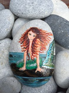 Mermaid on pebble Waiting for her prince Rock art by Ayse Sokullu