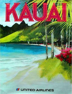 1960s Kauai Hawaii Hawaiian Beach United States Travel Advertisement Art Poster in Collectibles, Souvenirs & Travel Memorabilia, United States   eBay