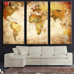 3 Panel Vintage World Map Print - Home Decor - Tac City Goods Co - 5 Link in the bio