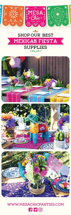 Shop the best Mexican Fiesta supplies at our website! We have the greatest selection with the most quality and colorful products you will find out of Mexico! We ship in 1-2 business days from sunny California! www.MesaChicParties.com