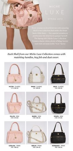 """The """"Lux"""" line come with their own special handles and a special storage bag.  www.switcharoopurses.miche.com"""