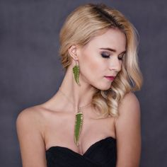 Fern Leaf earrings Fern Earrings Fern Resin Jewelry Green
