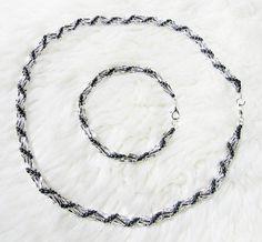 Silver shine spiral necklace and bracelet set by enlora on Etsy