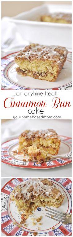 Cinnamon Bun Cake is an easy, anytime treat! The moist, cinnamony cake is perfect for breakfast, tea time or dessert!