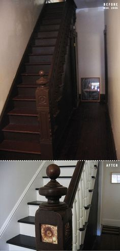 stairway and foyer transformation.  I'm becoming a big believer in painting wood trim.