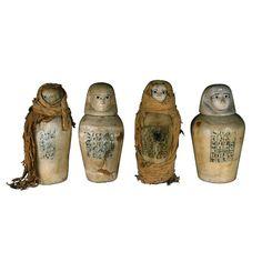 Egyptian Museum - Four Canopic Jars of Maherepri - Materials : ROCK: CALCITE/ALABASTER