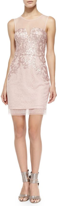 BCBGMAXAZRIA Abigail Mesh-Trim Sequined Cocktail Dress on shopstyle.com
